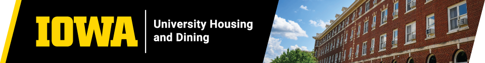 Housing Application Banner with University Housing and Dining Logo and photo of Currier Residence Hall