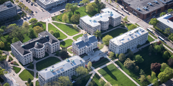 This is an aerial shot of the University of Iowa campus
