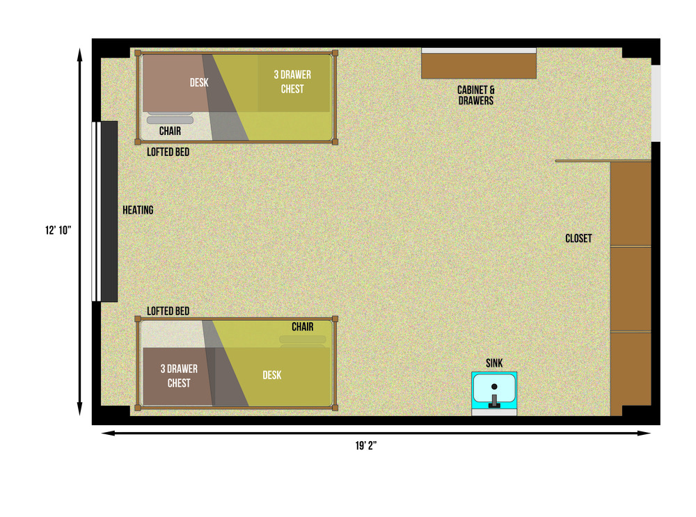 This is a floorplan of a double room in Burge