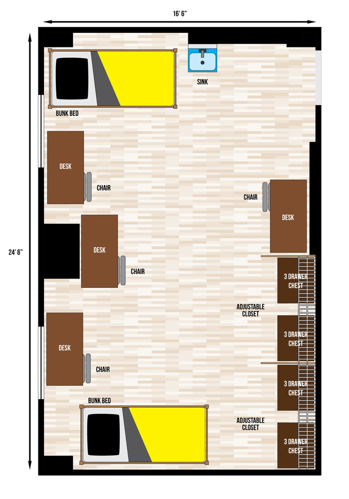 A floorplan of a quad room in Catlett Hall