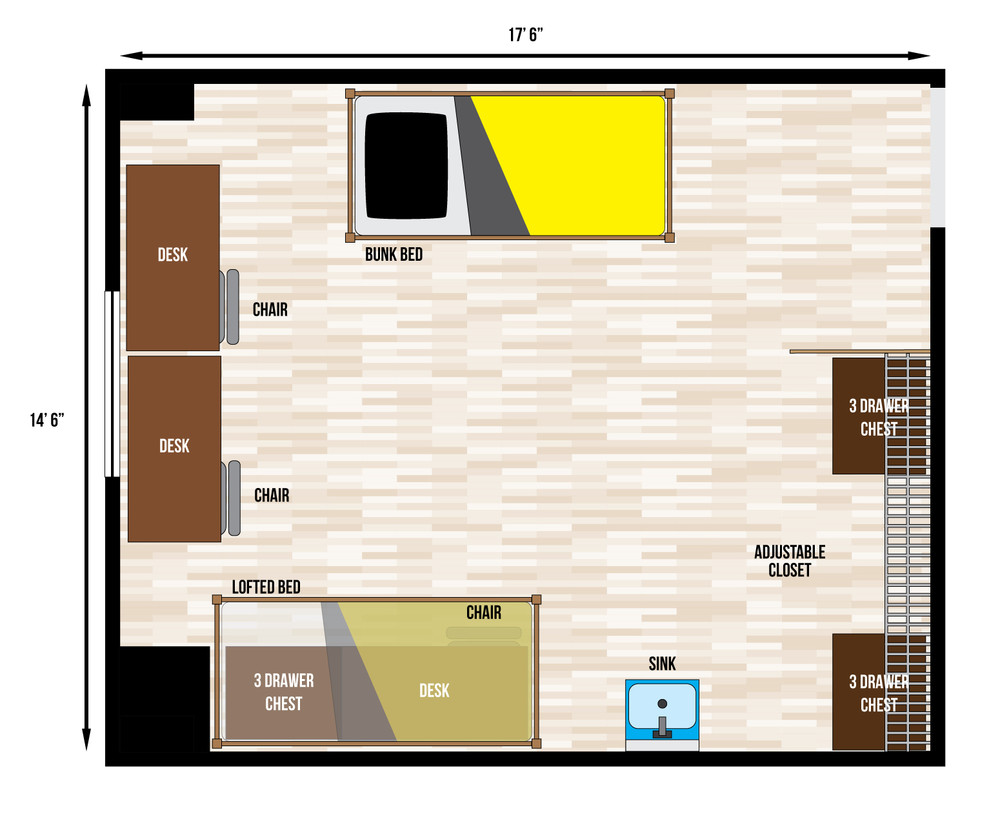 Typical Single Dorm Room Size