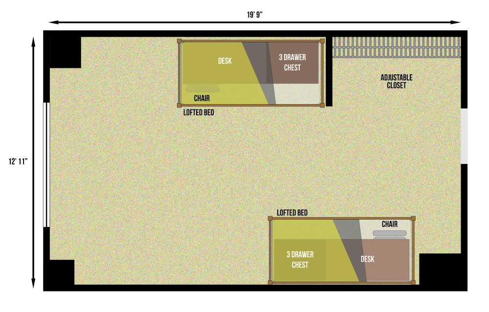 This is a floorplan of a dobule room in Peteren