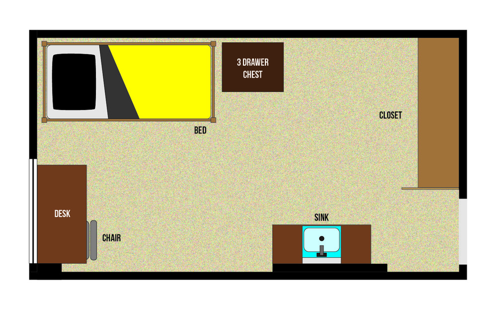 A floorplan of a single room in Rienow