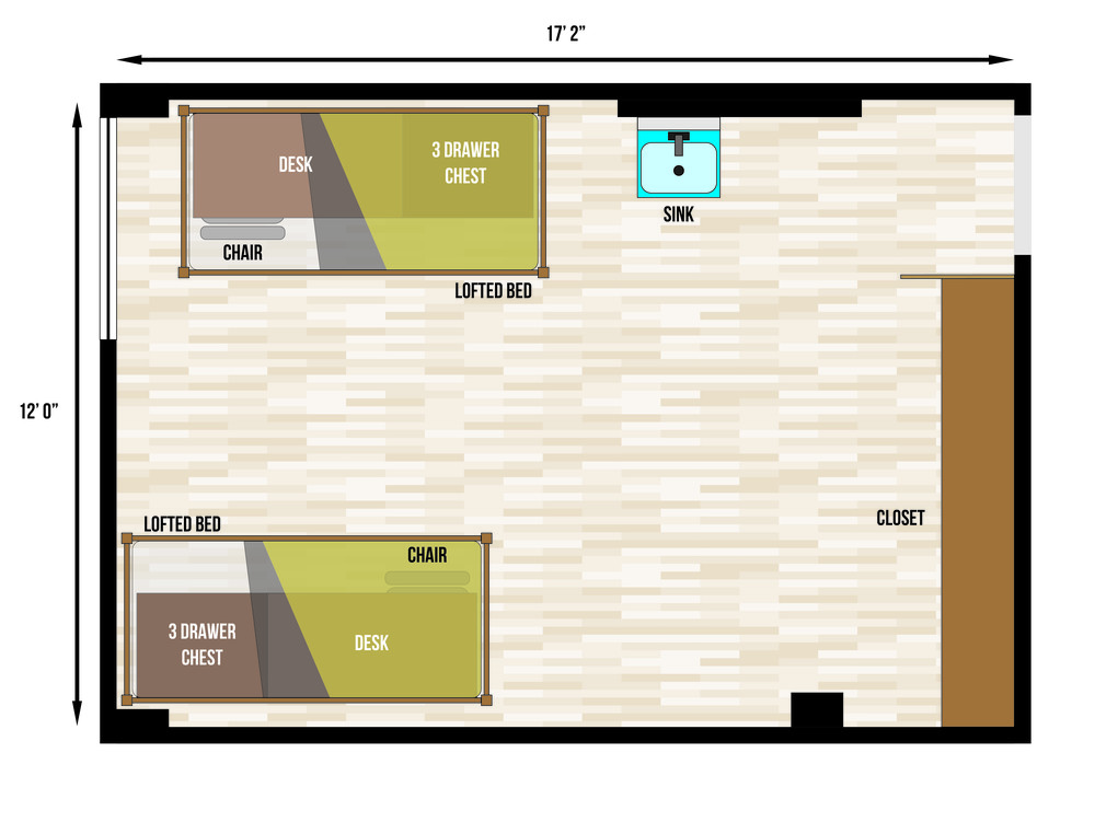 This is a floorplan of a double room in Slater Hall
