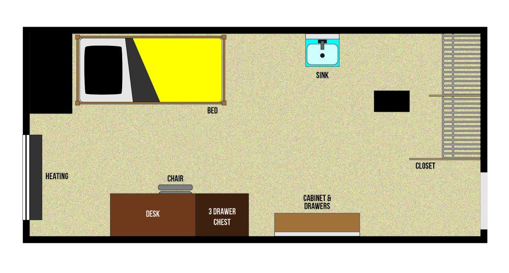 This is a floorplan of a single room in Stanley Hall