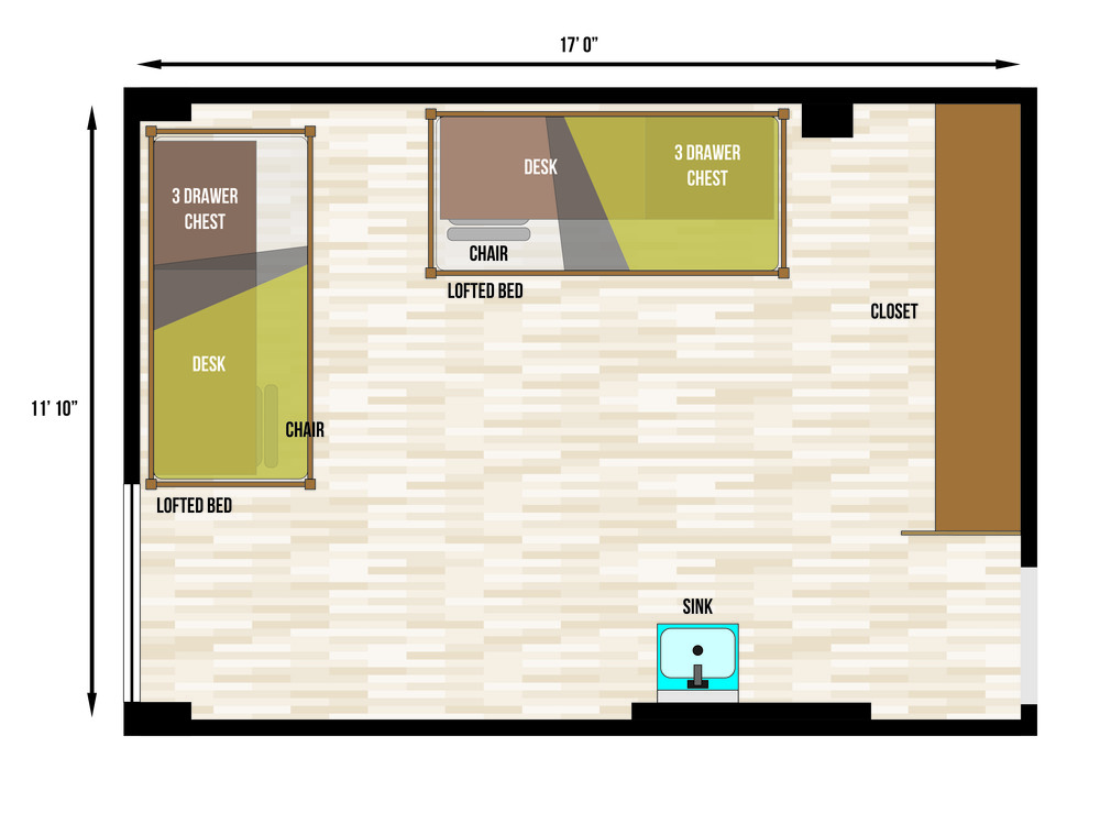 This is a floorplan of a double room in Rienow