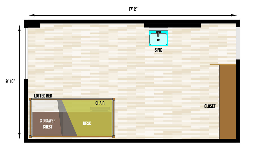 This is a floorplan of a single room in Slater